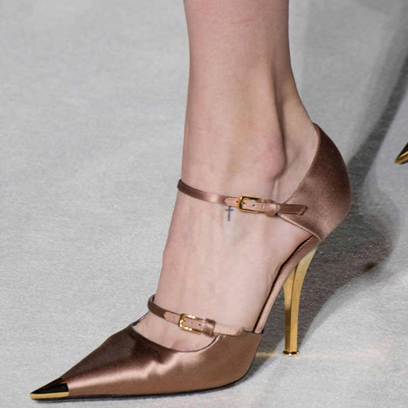 Gold Metal Pointed Toe Hollow Out Cover Heel Runway Pump Women Summer Thin Heels  Party Wedding f6f72aa190e4