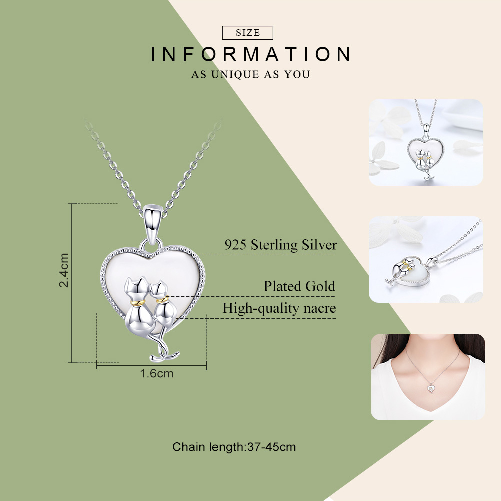 BAMOER 925 Sterling Silver Couple Cat Necklaces Pendant for Women Sweet Heart Necklace Sterling Silver Jewelry Collar SCN297  My Pet World Store