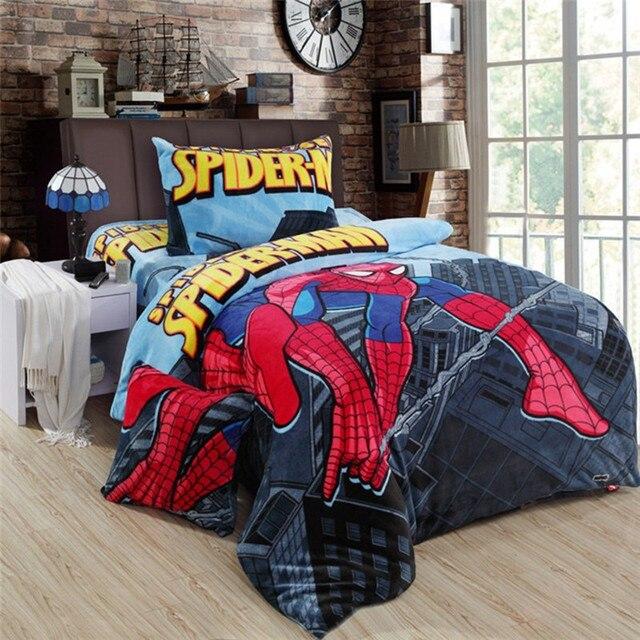 Jungen Spiderman Fleece Bettwäsche Setkid Cartoon 3 Stücke Set Für
