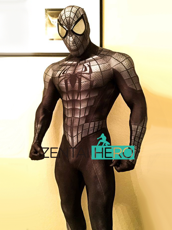 3D Print Armored Spider-man Costume lycra Spandex Zentai Spiderman Full Body Suit Spidey Cosplay Costume with Spiderman Lenses mask
