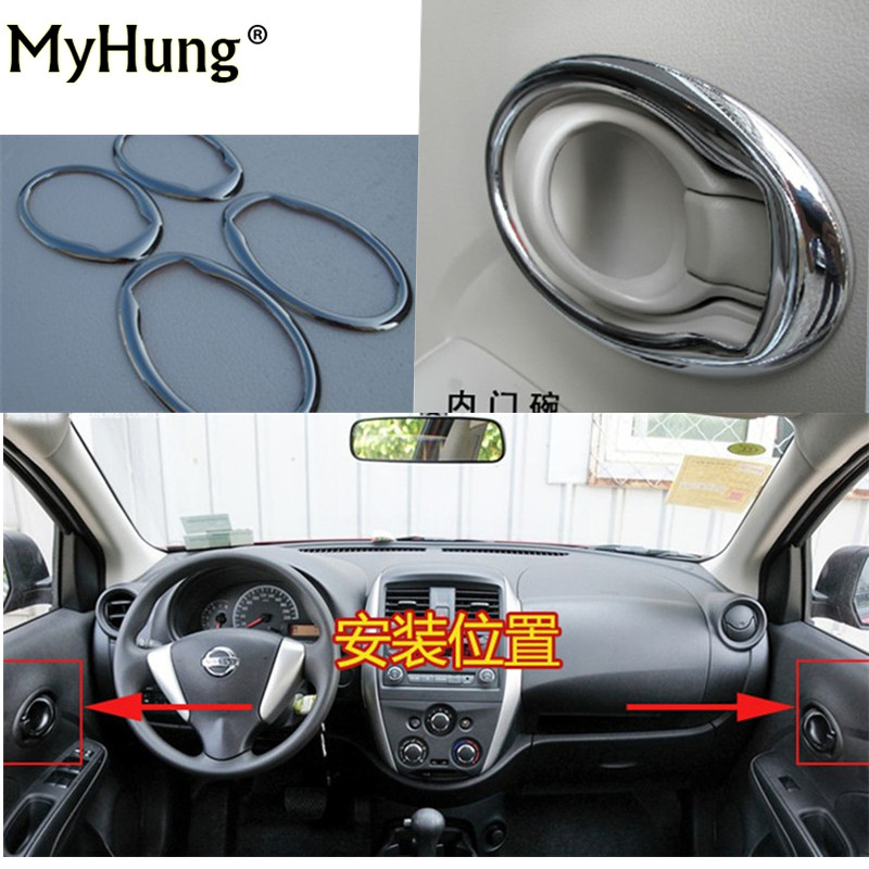Door Handle Cover inner door handle bowl cover for Nissan Versa sunny latio 2010 2011 2012 2013 2014 abs chrome 4pc Car Styling for nissan r35 gtr oem carbon fiber outer door handle cover pull surround 2pcs