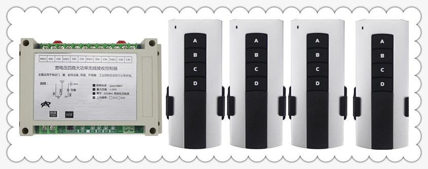 AC220V 380V 4CH 30A 4CH RF Wireless Remote Control Relay Switch Receiver Security System Garage Doors , motor+4*transmitter 315mhz 433mhz ac 85v 250v 4ch rf wireless remote control switch 3pcs transmitter and receiver for rolling gate electric doors