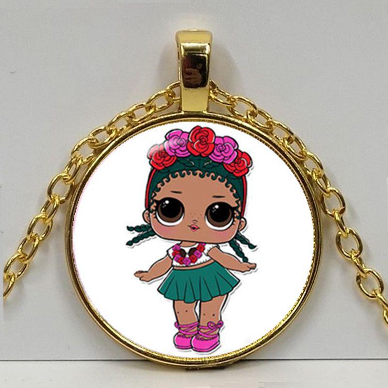 Мультяшное ожерелье с изображением куклы милое детское блестящее платье принцессы куклы стеклянные ожерелья аниме для детей подарок на день рождения - Окраска металла: Gold 6