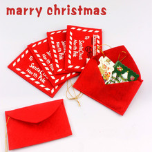 5pcs Red Letter To Santa Claus Felt Envelope Embroidery Christmas Ornament Tree Pendant for New Years E