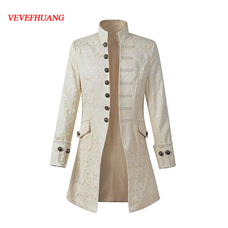 VEVEFHAUNG Steampunk men overcoat Solid color fashion retro lady uniform Steampunk American men overcoat Cosplay
