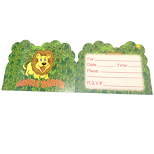 10PCS Happy Baby Shower Jungle Animal Theme Invitation Cards Birthday Boys Kids Favors Decoration Party Events Supplies 14*11 CM