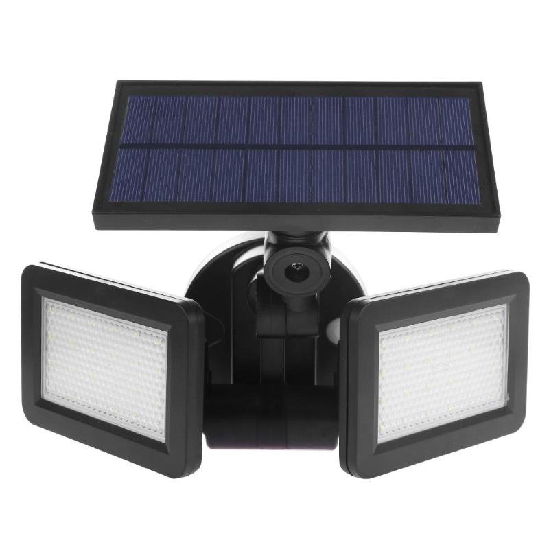 SHGO-Dual Head 48LED Solar Light Radar Sensor Spotlight Waterproof Outdoor Solar Garden Lamp Light Super Bright Flood LED Lights