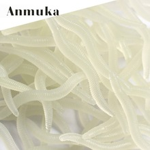Anmuka 50pcs/Lot Plastic Worm Soft Bait 3.8cm 0.2g Soft Lure Bait Artificial Lure Luminous Earthworm Bass Fishing Lures