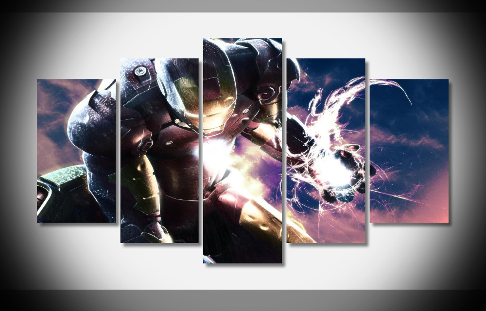 2602 iron man movie Poster Framed Gallery wrap art print home wall decor wall picture Already to hang digital print wholesale