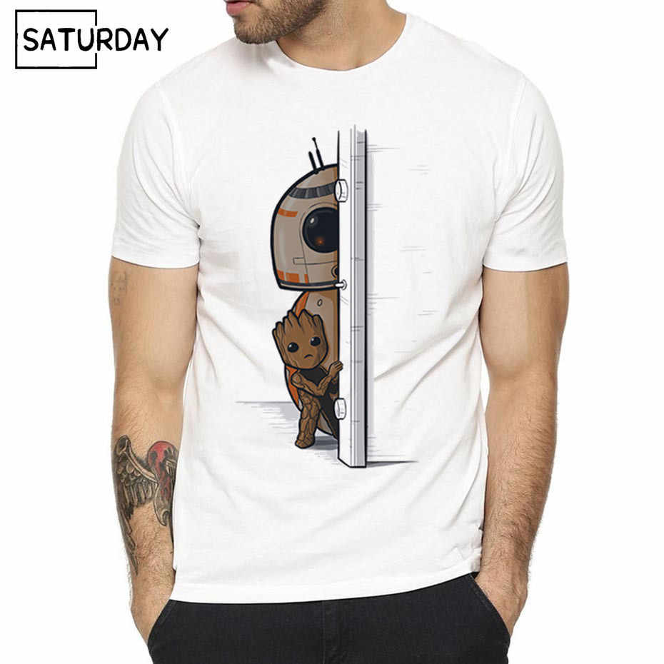 ba830e6dd9d Men s Movie Star Wars Design Print T-shirts 2019 Unisex Hipster Harajuku  Homme Starwars Robot