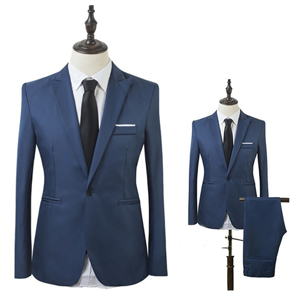 New Men Slim Fit Business Leisure One Button Formal Two-Piece Suit For Groom Wedding