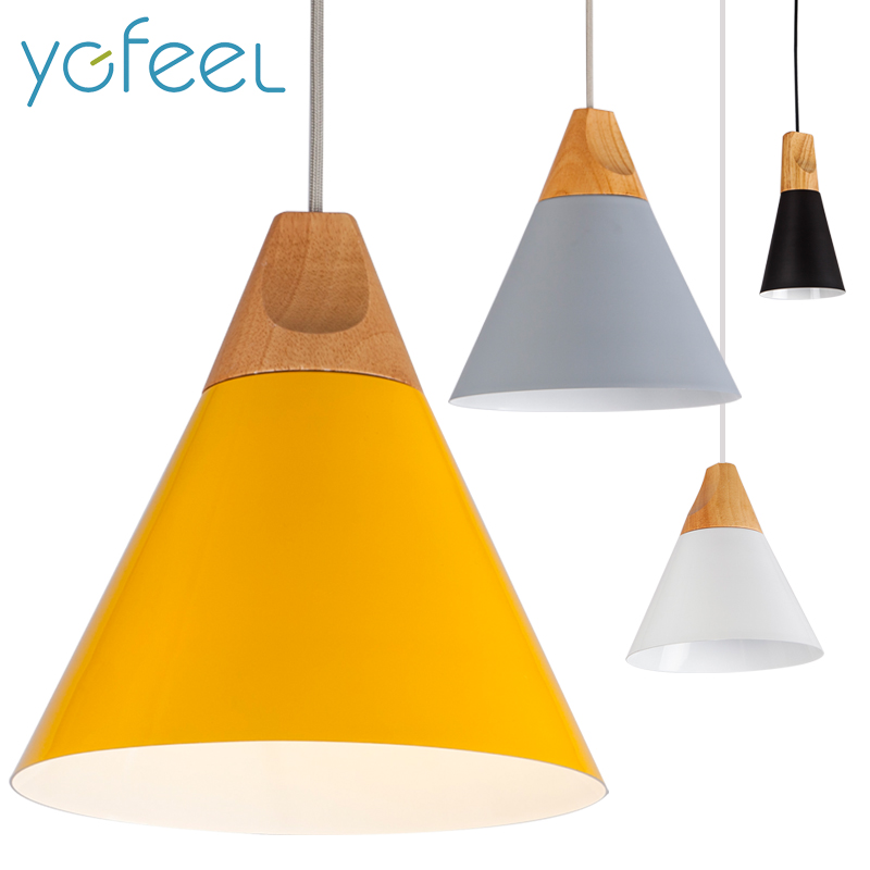 [YGFEEL] Pendant Lights Dining Room Pendant Lamps Modern Colorful Restaurant Coffee Bedroom Lighting Iron+Solid Wood E27 Holder modern iron 3heads yellow gray blue pendant light study macarons restaurant bar inline chandel lighting pendant lamps za925435