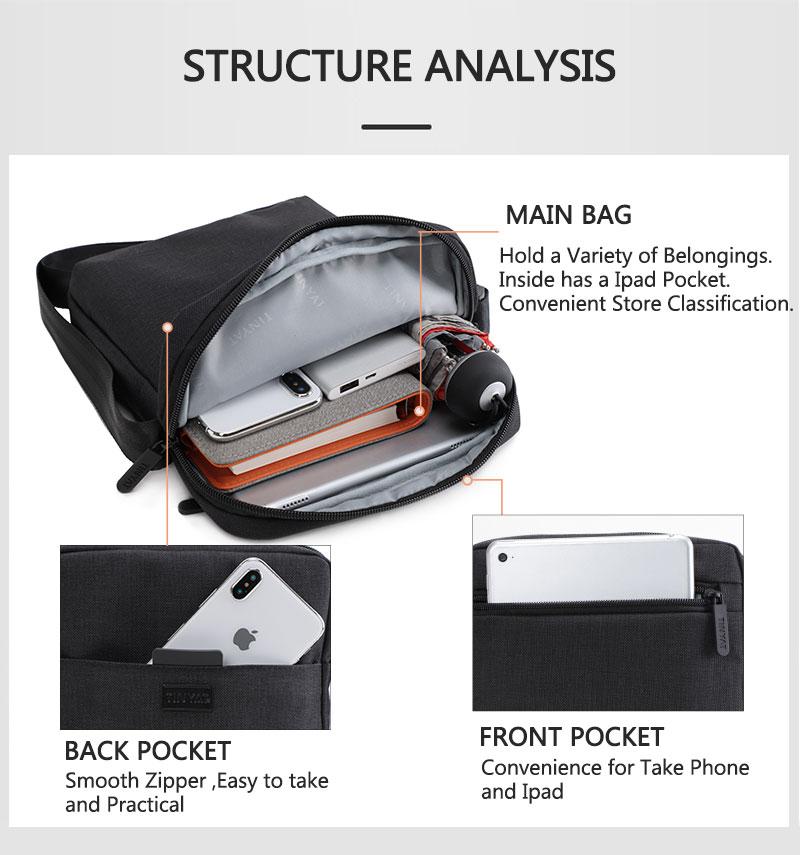 TINYAT Light Canvas Men's Shoulder Bag For 7.9' Ipad Casual Crossbody Bag Waterproof Business Shoulder bag for men 0.13kg 6