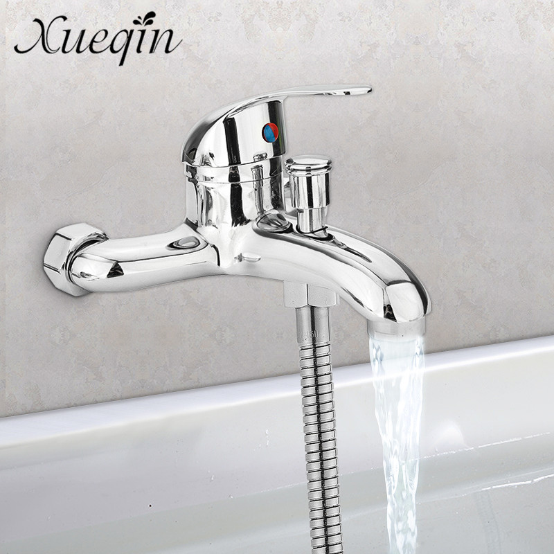 Xueqin Zinc alloy Basin Faucets Chrome Wall Mounted Hot Cold Water Dual Spout Mixer Tap Faucet Bath Shower BasinXueqin Zinc alloy Basin Faucets Chrome Wall Mounted Hot Cold Water Dual Spout Mixer Tap Faucet Bath Shower Basin