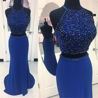 Chic Royal Blue Beaded Mermaid Prom Dresses 2 Piece Backless Elastic Satin Long Evening Party Gown Custom Made Robe De Soiree