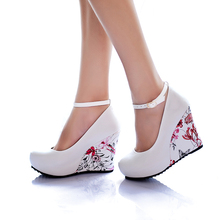 Ankle Strap High Wedges Platform Pumps For Women Casual Elegant Flower Print Wedges Platform Shoes mary jane