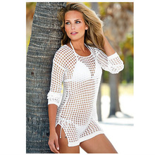 HOT 2016 Summer Vintage European American Hollow Sexy Fishnet Beachwear Bikini Blouse Wrap Dress Women Sexy Cover Up