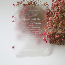 Customized 100pcs per lot 5*7inch Frosted scroll shape acrylic wedding invitation card