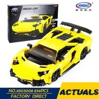 XingBao 03008 924Pcs Creative MOC Technic Series The Yellow Flash Racing Car Set Educational Building Blocks Bricks Toys Model