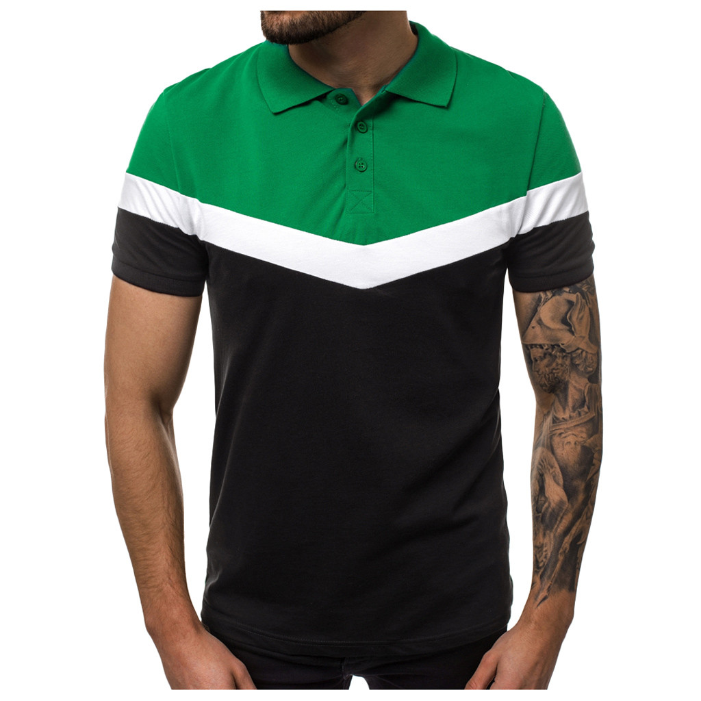 2019 New Men's   Polo   shirt Brand Men black Contrast color   Polo   Shirts Summer Casual Floral   Polo   Shirts Men Green+Red+Yellow