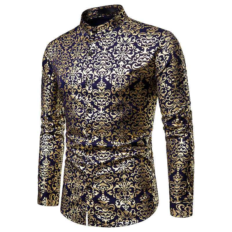 남자 hipster 럭셔리 블랙 골드 bronzing 인쇄 슬림 긴 소매 드레스 셔츠 웨딩 나이트 클럽 힙합 파티 가수 무대 셔츠