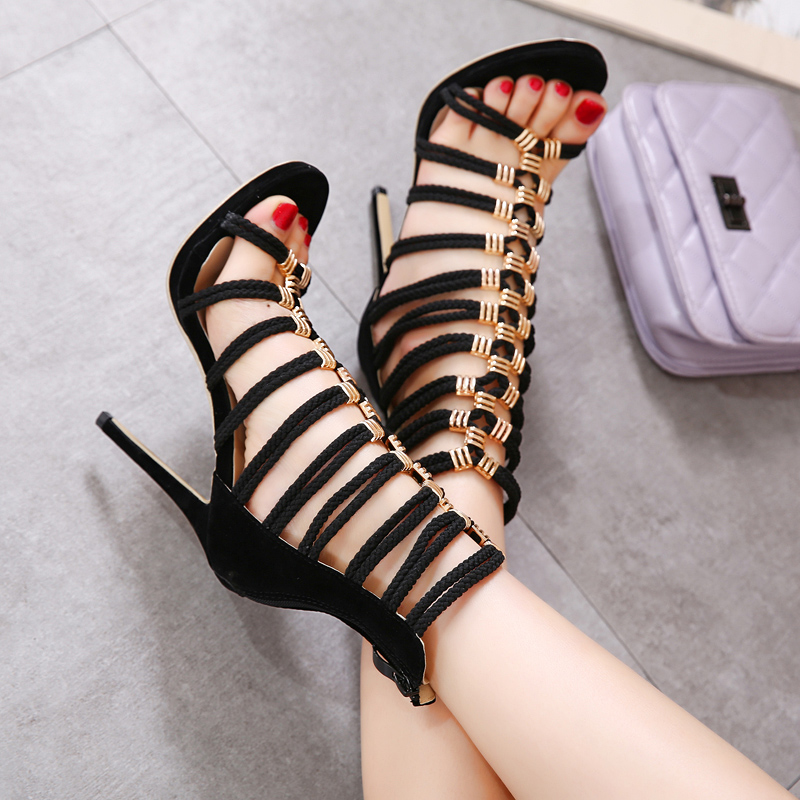 ФОТО 2017 New women high heel sandals flame gladiator sandals shoes party dress shoes woman Brand high heels