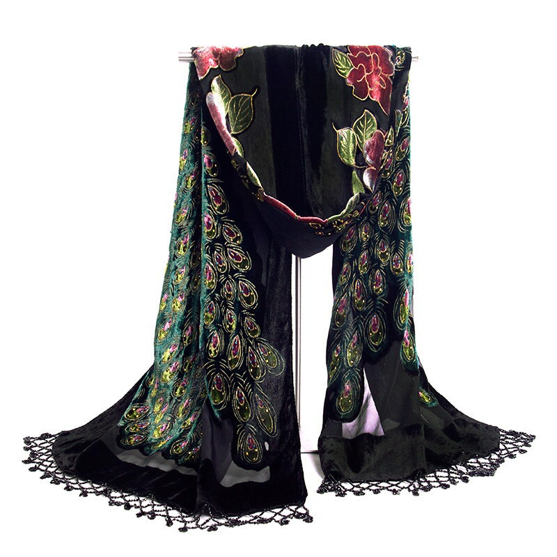 Hot Sale Black Women's Velvet Silk Beaded Embroidery Shawl   Scarf     Wrap     Scarves   Peafowl Free Shipping WS006-H