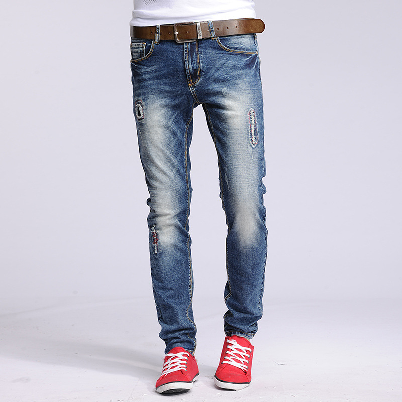 2016 hip-hop Men Jeans masculinaCasual Denim distressed Men's Slim Jeans pants Brand Biker jeans skinny rock ripped jeans homme faux turquoise inlaid geometric shape long tassel necklace
