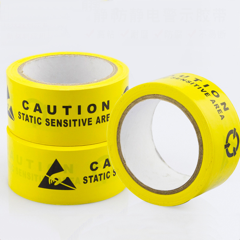 1 Roll Adhesive ESD Caution Tape Chinese And English Print ESD Area Warning Tape For Cleanroom Floor Workshop Lab