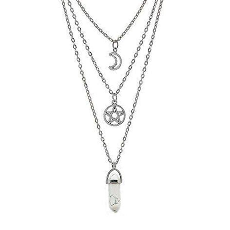 Многослойное ожерелье шестиугольная пуля в готическом стиле рейки натуральный лунный камень Сверхъестественное подвеска с пентаграммой д...