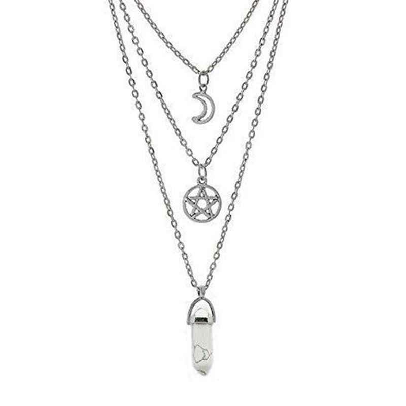 Đá Tự Nhiên Lục Giác Cột Siêu Nhiên Pentagram Vòng Cổ Wicca Choker Đa Lớp Vòng Cổ Gothic Trang Sức Nữ Gift