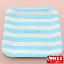 60pcs 7  Square Vintage Birthday Paper Plates Blue Party  sc 1 st  AliExpress.com & Buy vintage paper plates and get free shipping on AliExpress.com