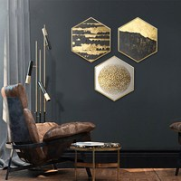 Nordic abstraction Art restaurant decoration painting atmospheric purple gold gravel home mural kitchen painting wall painting
