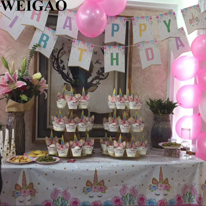 WEIGAO Birthday Party Banner Unicorn Party Bunting Flags Kids Happy Birthday Party Supplies Baby Shower Glitter Unicorn Banners
