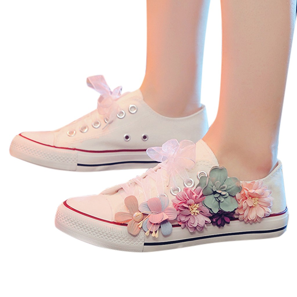 SAGACE Sneakers Shoes Spring Floral-Print Valcanized Flat Casual Ladies Comfortable Autumn title=