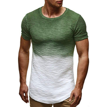 MarKyi Mens Cotton Gradient Printed T-shirt Fitness T Shirt Men 2019 Brand Clothing Hip Hop Tshirt Homme Crew Neck Tee