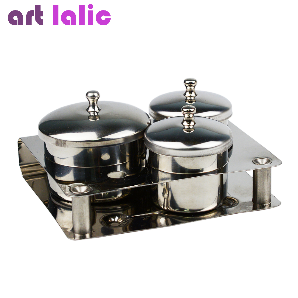Artlalic 3pcs Mini Stainless Steel Nail Art Tray Container Liquid Powder Holder Professional Manicure Sterilizer Tools SalonArtlalic 3pcs Mini Stainless Steel Nail Art Tray Container Liquid Powder Holder Professional Manicure Sterilizer Tools Salon