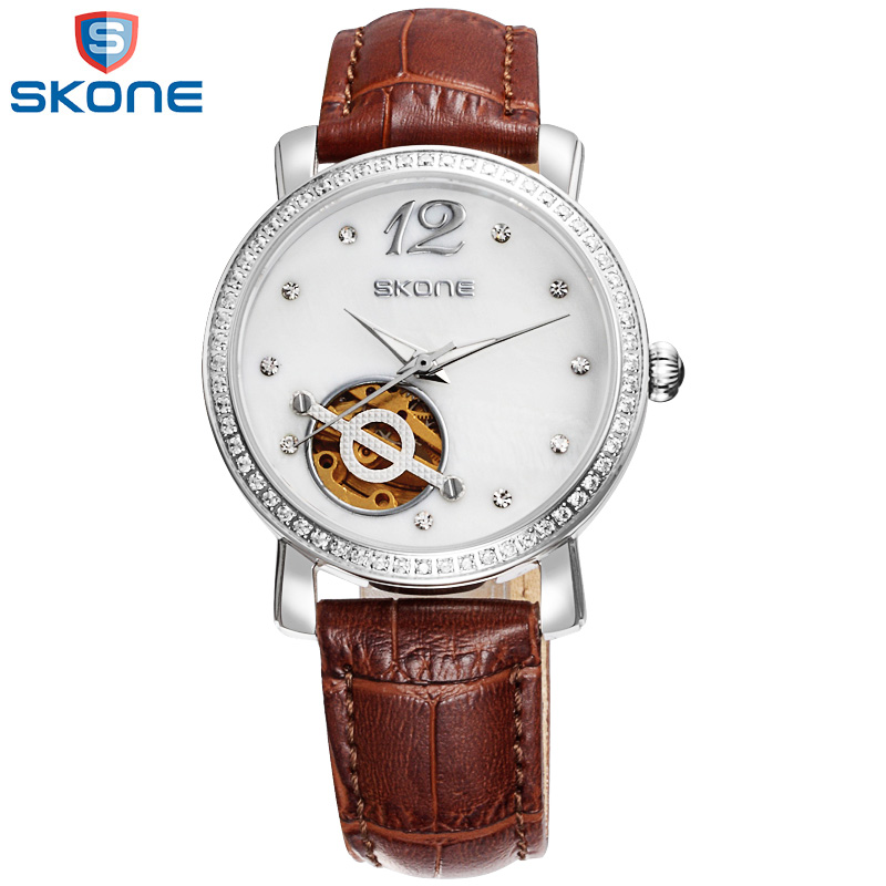 ФОТО SKONE Mechanical Watch Women Waterproof Automatic Watch Alloy Genuine Leather Band Wrist Watches For Women Relogios Feminino