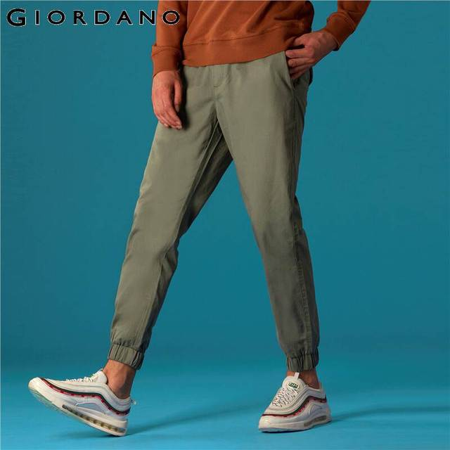 Giordano Men Pants Elastic Waistband Casual Pants Men Solid Twill Joggers Banded Cuffs Mens Trousers Pantalones Hombre 47