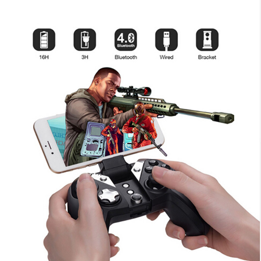 GameSir G4 Wireless Bluetooth Controller For PS3 Smartphone Tablet PC Games Wired Gamepads Gaming Joystick Built-in Phone Holder