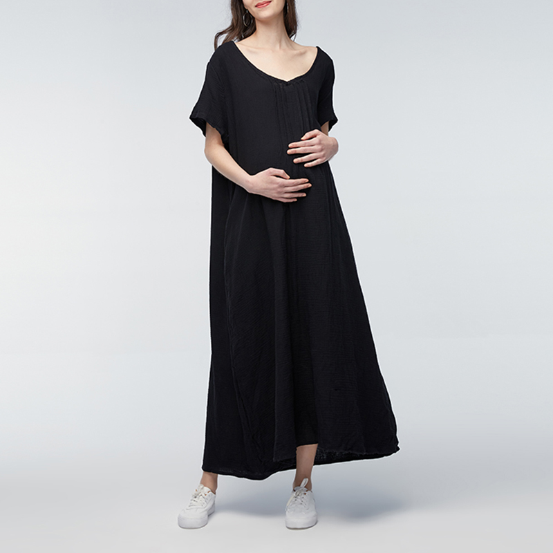 2018 Summer Maternity Clothing Casual Loose Dress Pregant Women Short Sleeve Ankle-length Pregnancy Dresses Vestidos Plus Size