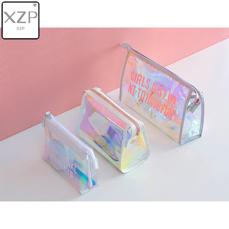 XZP Waterproof Laser Cosmetic Bag Women Makeup Case PVC Transparent Beauty Organizer Pouch Female Jelly Bag Lady Make Up Pouch