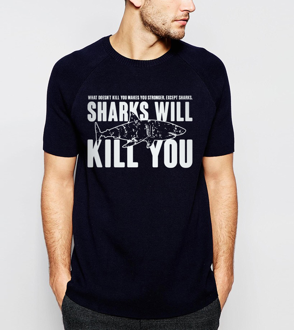 New Arrival Sharks Will Kill You Letters Print 2019 Summer Casual 100% Cotton High Quality Men T Shirts Hip Hop Style Streetwear