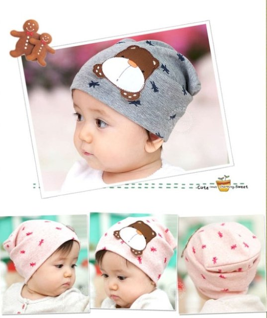 10PCS/lot wholesale cute bear baby hat Cotton baby cap Beanie Infant Hat kids children hats