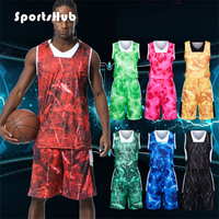 SPORTSHUB Anti pilling Basketball Jerseys Set Polyester Anti wrinkle College Basketball Jerseys+Shorts Customized Prints SAA0042