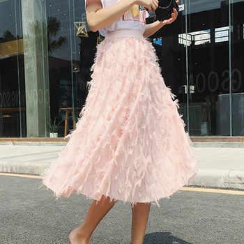 2018 New Spring Summer Bubble Tulle Tassel Skirt Women Tulle Skirts Female Tutu Skirts Pleated Skirt Black White Pink - DISCOUNT ITEM  40% OFF All Category