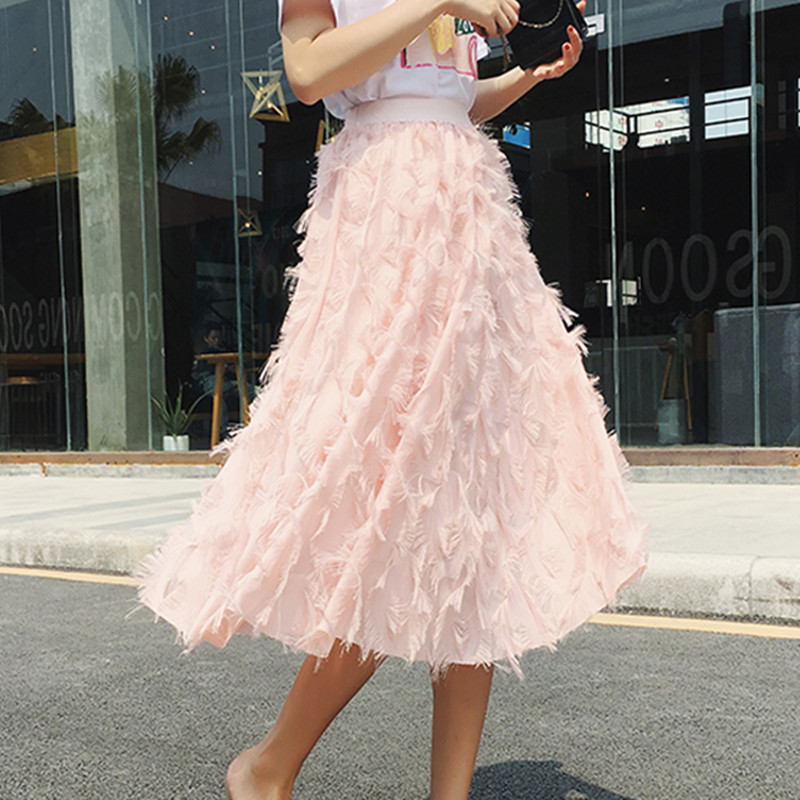2018 New Spring Summer Bubble Tulle Tassel Skirt Women Tulle Skirts Female Tutu Skirts Pleated Skirt Black White Pink