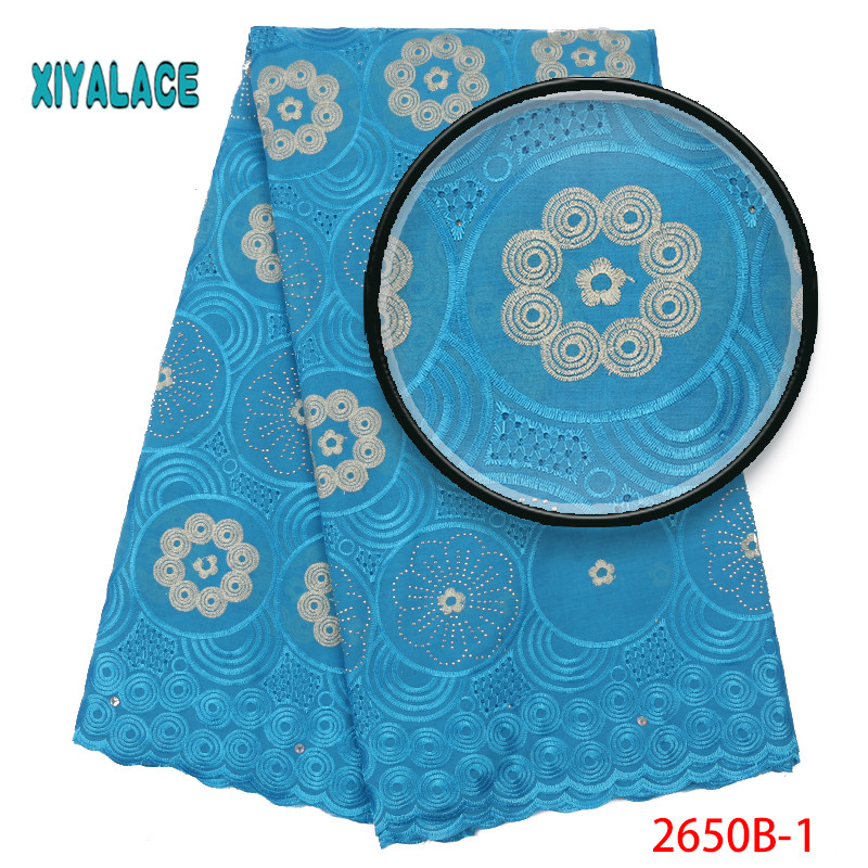 African Lace Fabric 2019 High Quality Lace Voile Lace Fabric New Design Swiss Voile Lace Switzerland Add Stones YA2650B-1