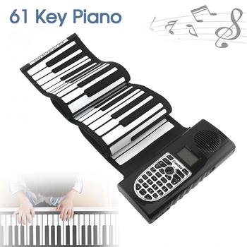 61 Keys 128 Tones MIDI Output Roll Up Piano Electronic Portable Silicone Flexible Keyboard Organ Built-in Speaker