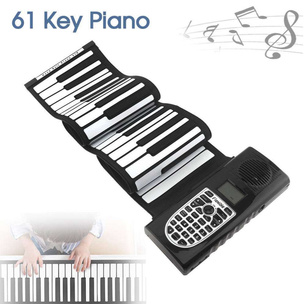 61 Keys 128 Tones USB MIDI Output Roll Up Piano Electronic Portable Silicone Flexible Keyboard Organ Built-in Speaker